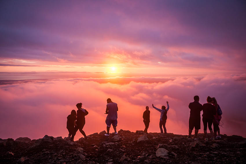 The annual summer solstice celebration atop Flattop mountain in Anchorage. Flattop is Alaska's most-climbed peak