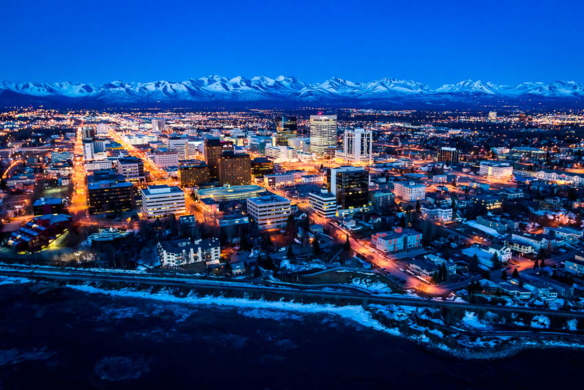 A spectacular early spring sunset over downtown Anchorage