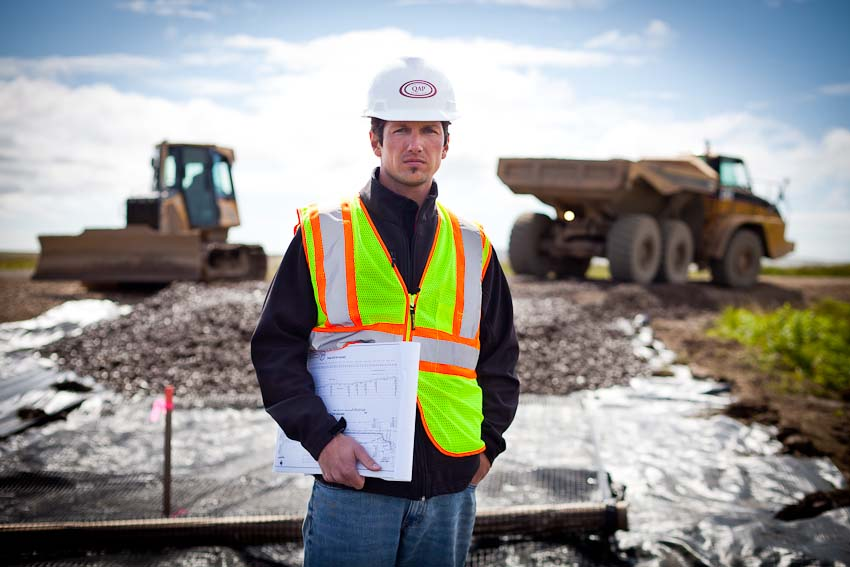 Chris Humphrey, project manager for the new Chefornak airport, photographed for COLAS / Sipa Press